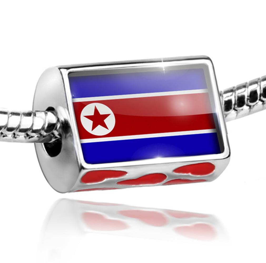 Bead North Korea Flag Charm Fits All European Bracelets by NEONBLOND