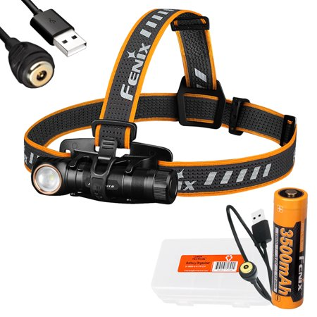 Fenix HM61R 1200 Lumen Magnetic Rechargeable Headlamp and LumenTac Battery Case 1200 Small Case