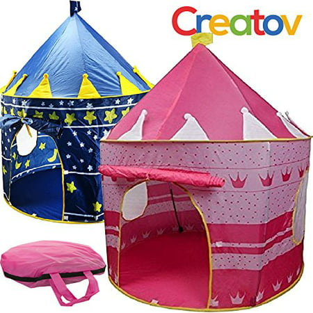 Children Play Tent Girls Pink Castle for Indoor/Outdoor Use With Glow in the Dark Stars Foldable with Carry Case - Creatov - image 5 of 5