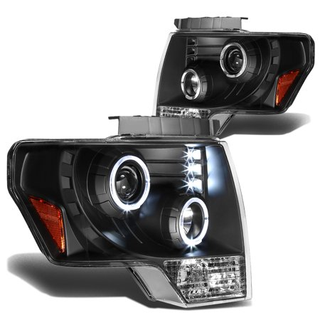 For 2009 to 2014 Ford F-150 Dual Angel Eyes Halo Projector Headlight Black Housing Amber Corner Headlamp 10 11 12 13 Left+Right](Angel Halos For Sale)