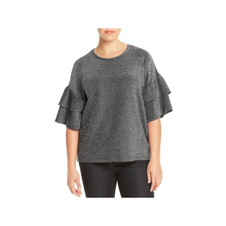 MICHAEL Michael Kors Womens Plus Glittle Tiered Pullover Top