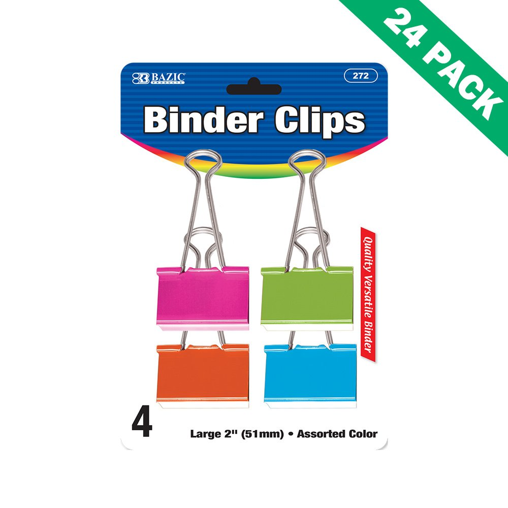 Large Binder Clips, Assorted Colored Binder Clips Office 4 Pack - 24 Unit Case
