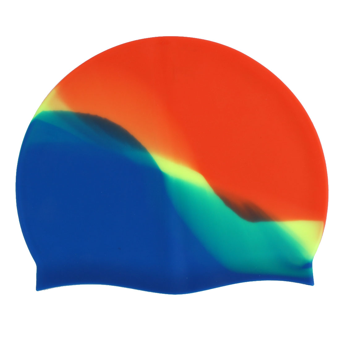 Adult Silicone Dome Shaped Elastic Non-slip Water Resistant Swimming Cap Orange