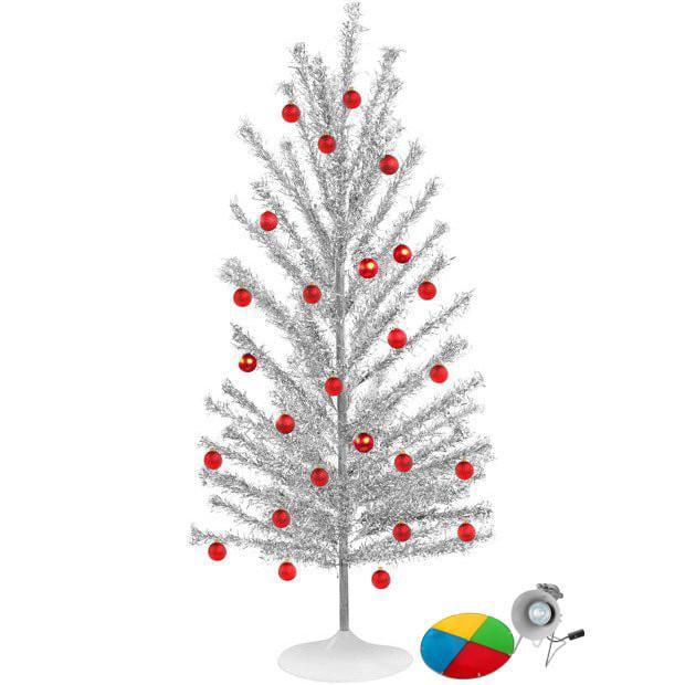 Mid Century Modern-Style Aluminum Christmas Tree w/ Color Wheel