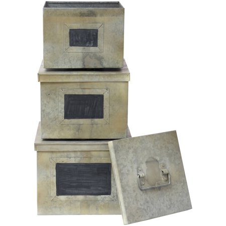 Set of 3 Aged Galvanized Metal Boxes with Chalkboard labels ()