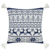 "Better Homes & Gardens Feather Filled Fair Isle Sweater Knit Decorative Throw Pillow with Tassels, 20"" x 20"", Blue & White"
