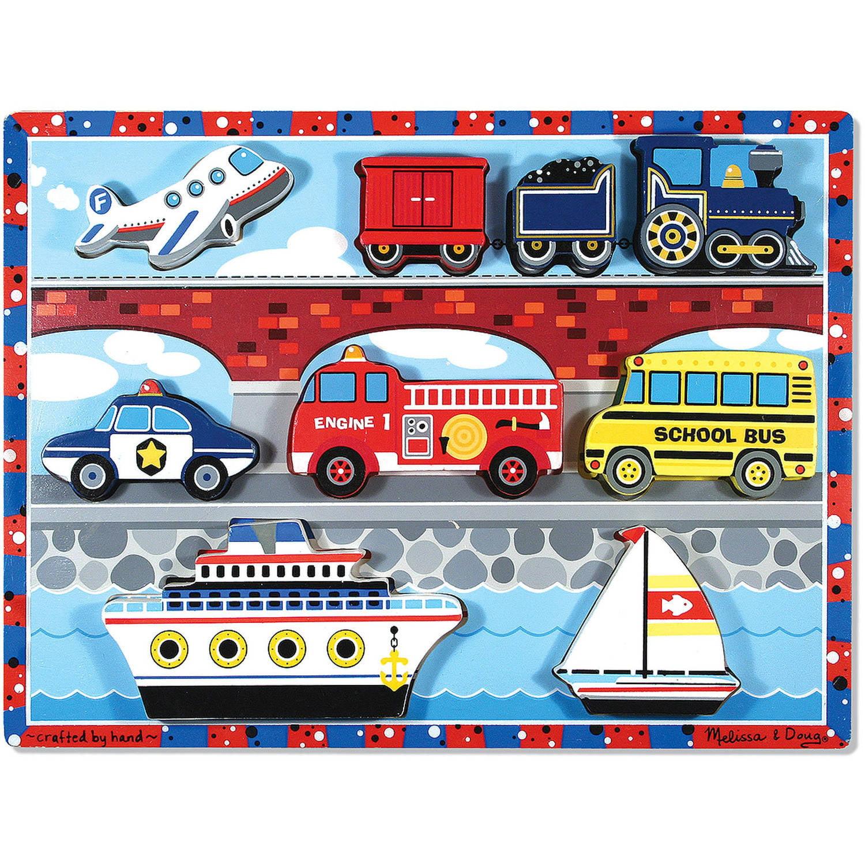 Melissa & Doug Vehicles Wooden Chunky Puzzle - Plane, Train, Cars, and Boats (9 pcs)