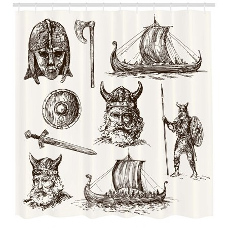 Viking Shower Curtain Ancient Figures Shield And Mask Dragon Head Ship Medieval Times Design
