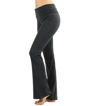 Zenana Women Plus Size Fold Over Waist Cotton Stretch Flare Leg Boot Cut Yoga Pants Leggings Charcoal 1X Boot Cut Flare