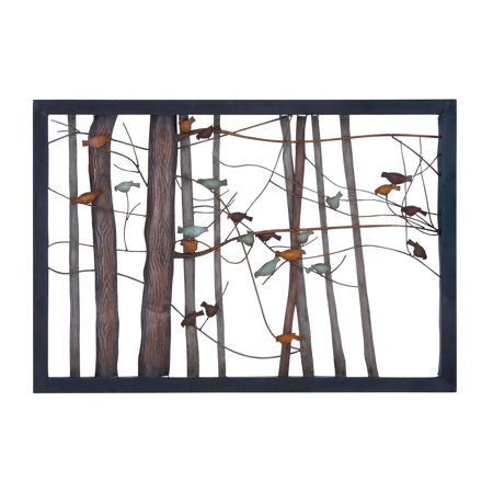 Classic metal wall decor with intricate bird and tree for Al ahram aluminium decoration