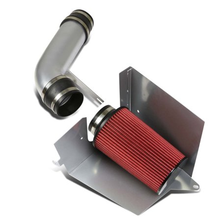 For 1996 to 2000 Chevy / GMC C / K -Series GMT400 5.0 / 5.7 Silver Cold Air Intake Pipe+Heat Shield+Red Filter 97 98 (Best Cold Air Intake For 2019 Chevy Silverado 1500)