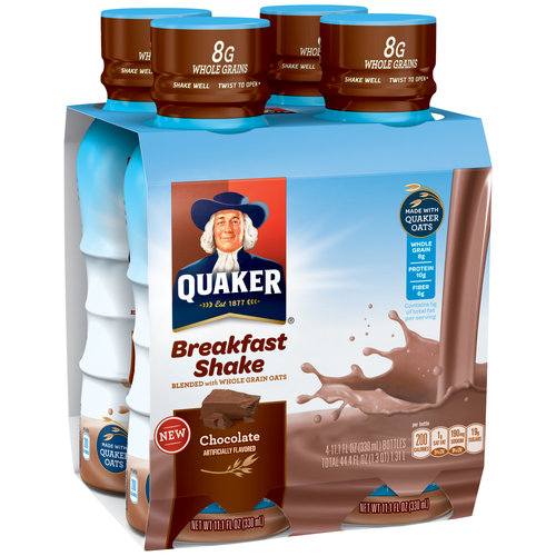 Quaker Chocolate Breakfast Shakes, 11.1 fl oz, 4 count
