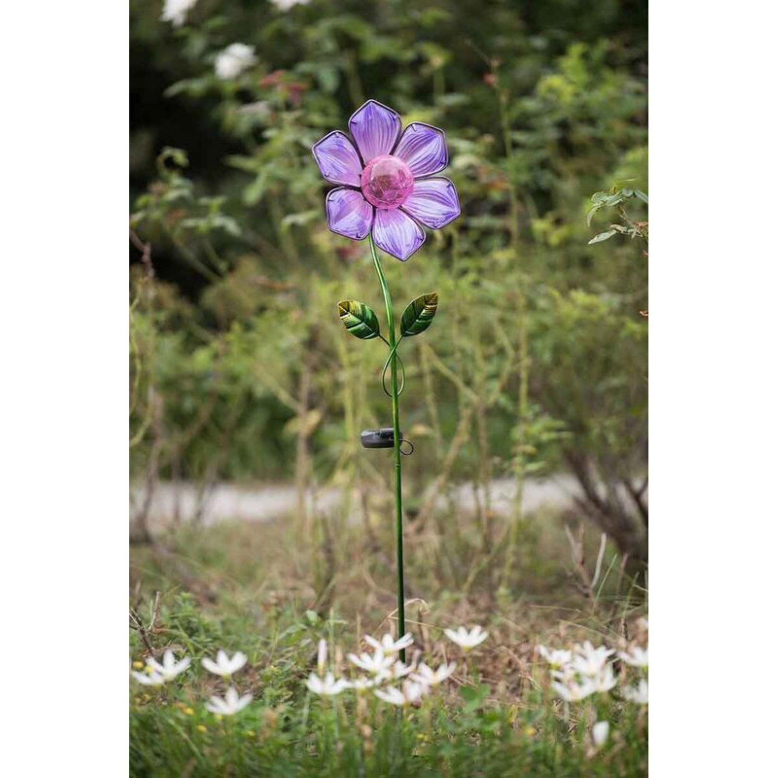 Sunjoy Blue Flower Garden Stake w/ LED Solar
