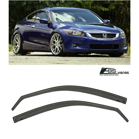 For 08-12 Honda Accord 2Dr Coupe JDM IN-CHANNEL Style Smoke Tinted JDM Side Window Visors Rain Guard Deflectors 2008 2009 2010 2011 2012 08 09 10 11 12