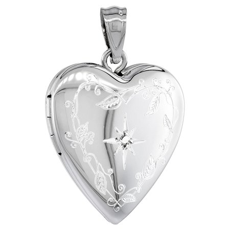 Sterling Silver Diamond Heart Locket Necklace Engraved Star 3 4 Inch Wide