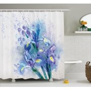 Watercolor Flower Decor Shower Curtain Set, Floral Background With Pretty Irises In Fresh Colors Nature Earth Spirit, Bathroom Accessories, 69W X 70L Inches, By Ambesonne