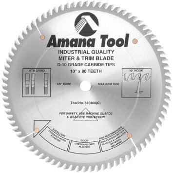 "Amana tool Amana 610800C 10""/80T TRIM SAW A.T.B. GRIND"