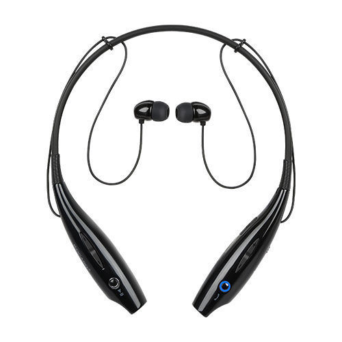 Black Bluetooth Headset Wireless Headphones Handsfree with Mic Sports Earphones for Smartphone Behind the Neck Head Set AmazingForLess