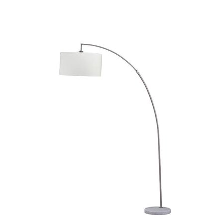 Ore Furniture 6931SN 86 in. Allegro Silver Arc Marble Floor Lamp, White - image 1 de 1
