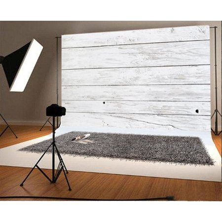 HelloDecor Polyster 7x5ft Photography Backdrop Painted White Planks Stripe Wood Floor Scene Photo Background Children Baby Adults Portraits Backdrop (Scene Backdrops)