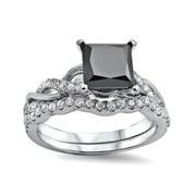 Noori 14k White Gold 1 1/2ct TDW Black/ White Princess-cut Diamond Bridal Ring Set (F-G, SI1-SI2) Size-6
