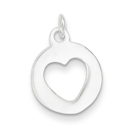 Chain Slide Polished Circle w/Heart Solid Flat Charm Pendant Sterling Silver