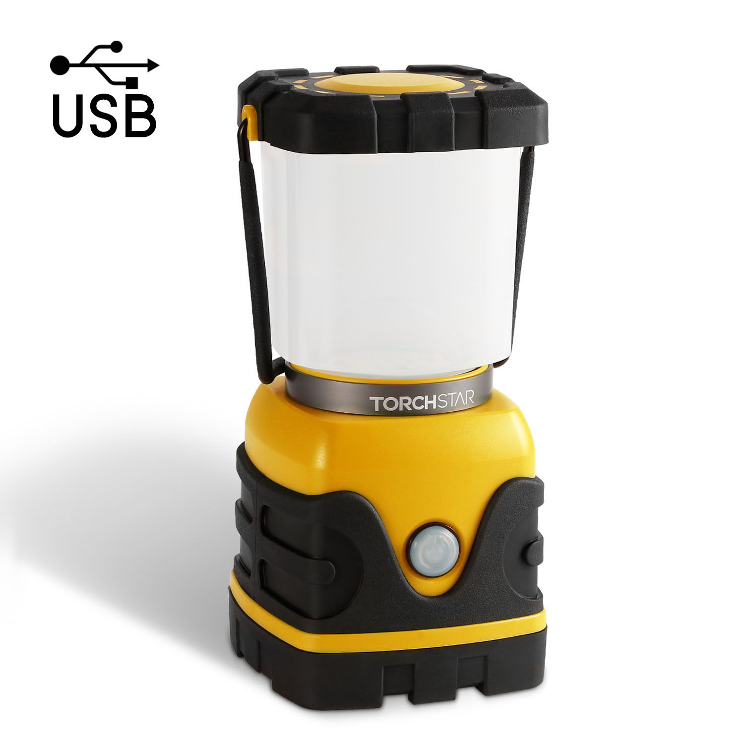 TORCHSTAR Portable LED Camping Lantern, 4-level Dimmable (300lm-1000lm) Emergency Light with 4400mAh Rechargeable Battery, Waterproof Hiking Fishing Outages Nightlight Survival Lamp, USB Port, Yellow