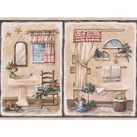 Vintage Bathroom in Black Squares Beige Wallpaper Border Retro Design, Roll 15' x 9
