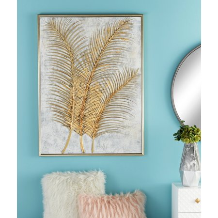 "CosmoLiving Glam Style Metallic Gold Leaf Palm Fronds Acrylic Painting in Rectangular Metallic Wood Frame | 36"" x 48"" (Rectangular Painting)"
