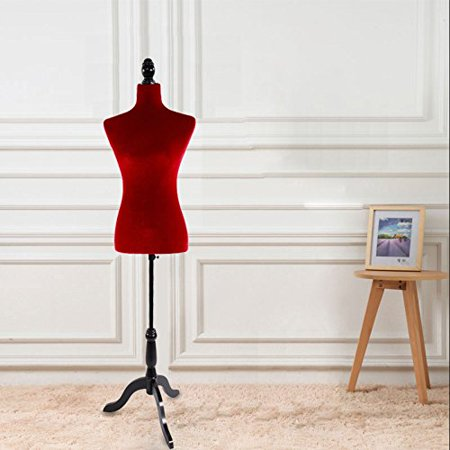 Zimtown Red Female Adjustable Torso Mannequin Premium Women Dress Form Display W/ Wooden Tripod Stand ()