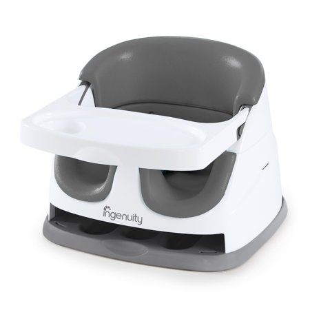 Ingenuity Baby Base 2-in-1 Seat - Slate - Booster Feeding Seat Go Booster Feeding Seat