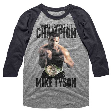 Mike Tyson Mens  Undefeated Baseball Jersey Dark Heather