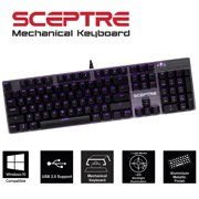 Sceptre SK-604 104 Key USB Wired Illuminated Mechanical Gaming Keyboard - Blue Switch - Purple LED Backlit