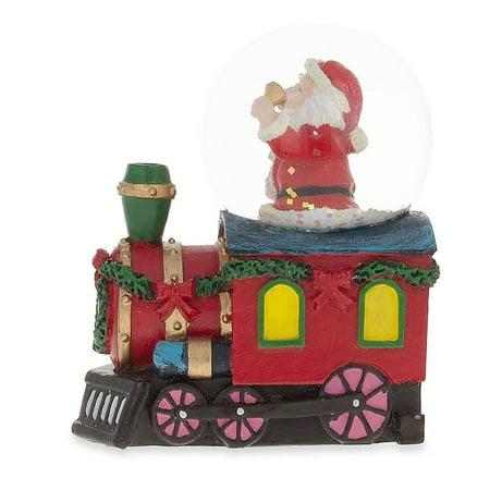 Santa Ringing a Bell on a Christmas Train Snow Globe