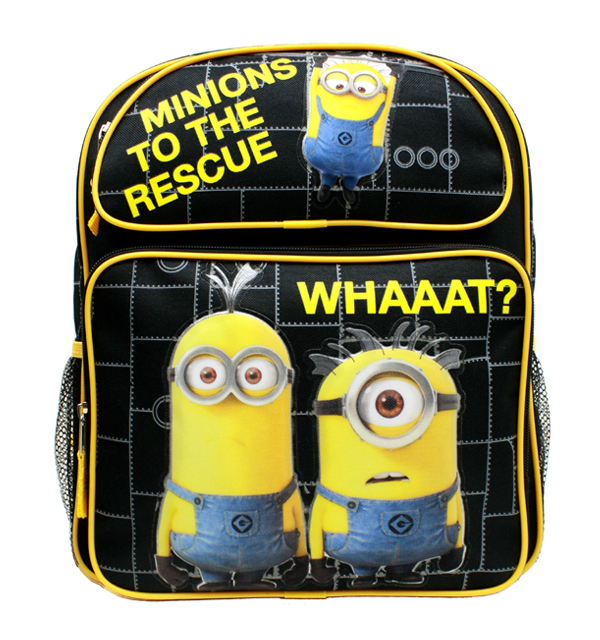 "Medium Backpack - Despicable Me - Minions To The Rescue Black 14"" New DL30407"