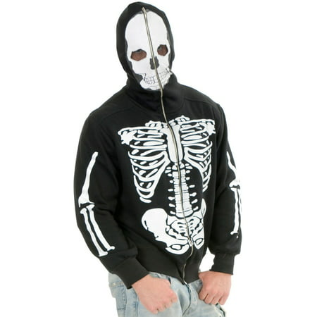 Adult Men's Skeleton Print Black Hoodie - Skelton Hoodie