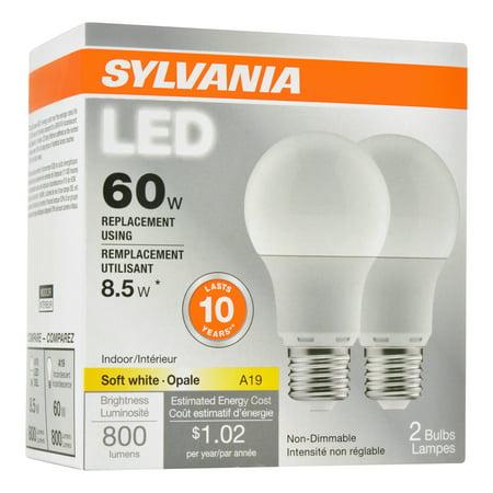 Sylvania Value Line LED Light Bulb, A19, Soft White, 60 WE, E26, 2