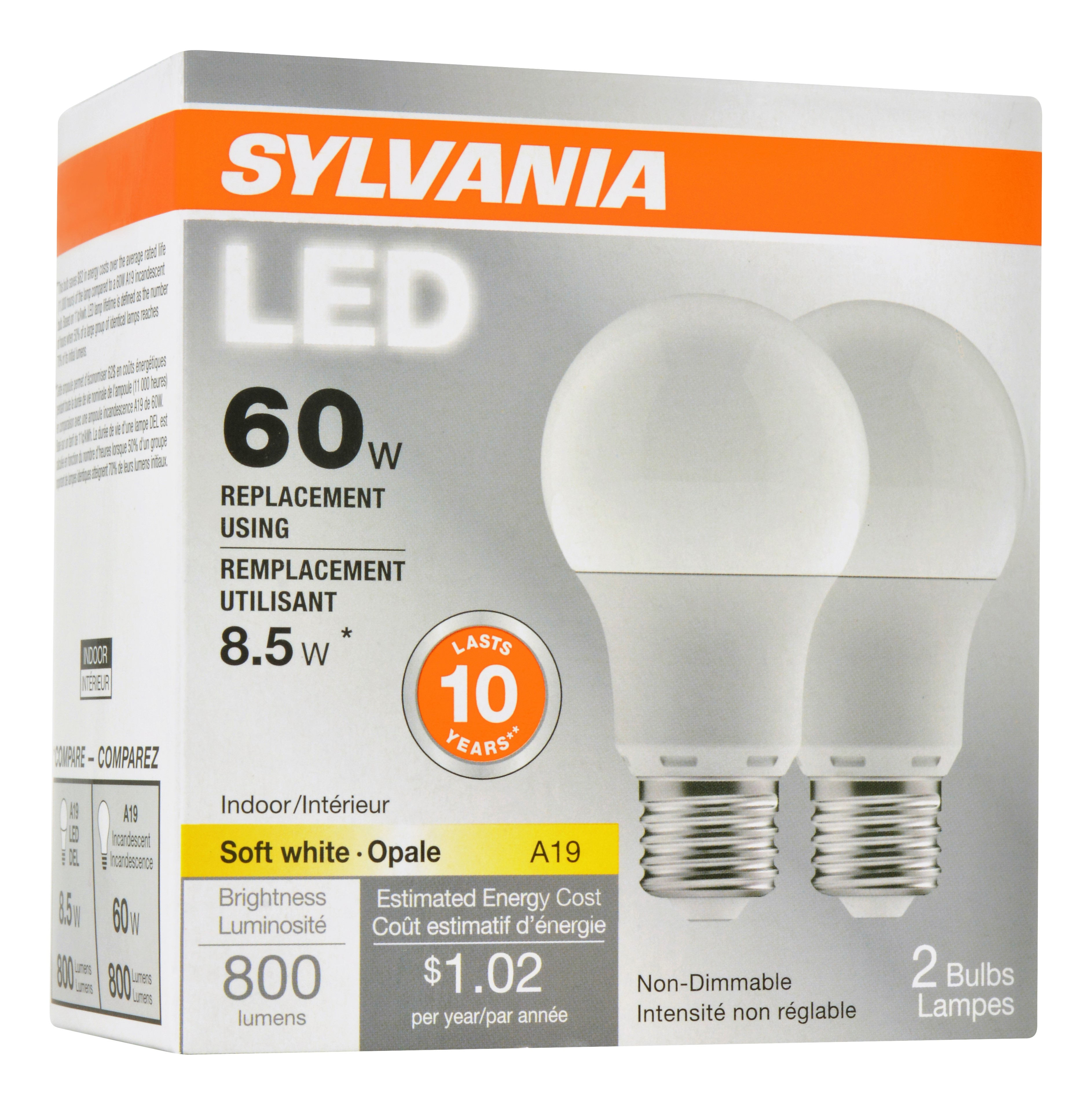 Sylvania Value Line LED Light Bulb, A19, Soft White, 60 WE, E26, 2 Ct