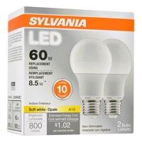 Sylvania Value Line LED Light Bulb, A19, Soft White, 60 WE, E26, 2 Ct