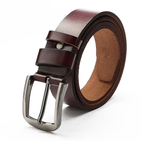3.7 x 120cm Men Pin Buckle Simple All-match Leather Belt Commercial & Leisure Cowhide Waistband For - Commercial Leather