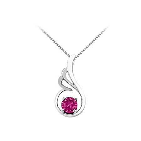 September Birthstone Pink Sapphire Pendant in 14K White Gold with Free Chain Coolest Price - image 1 de 2