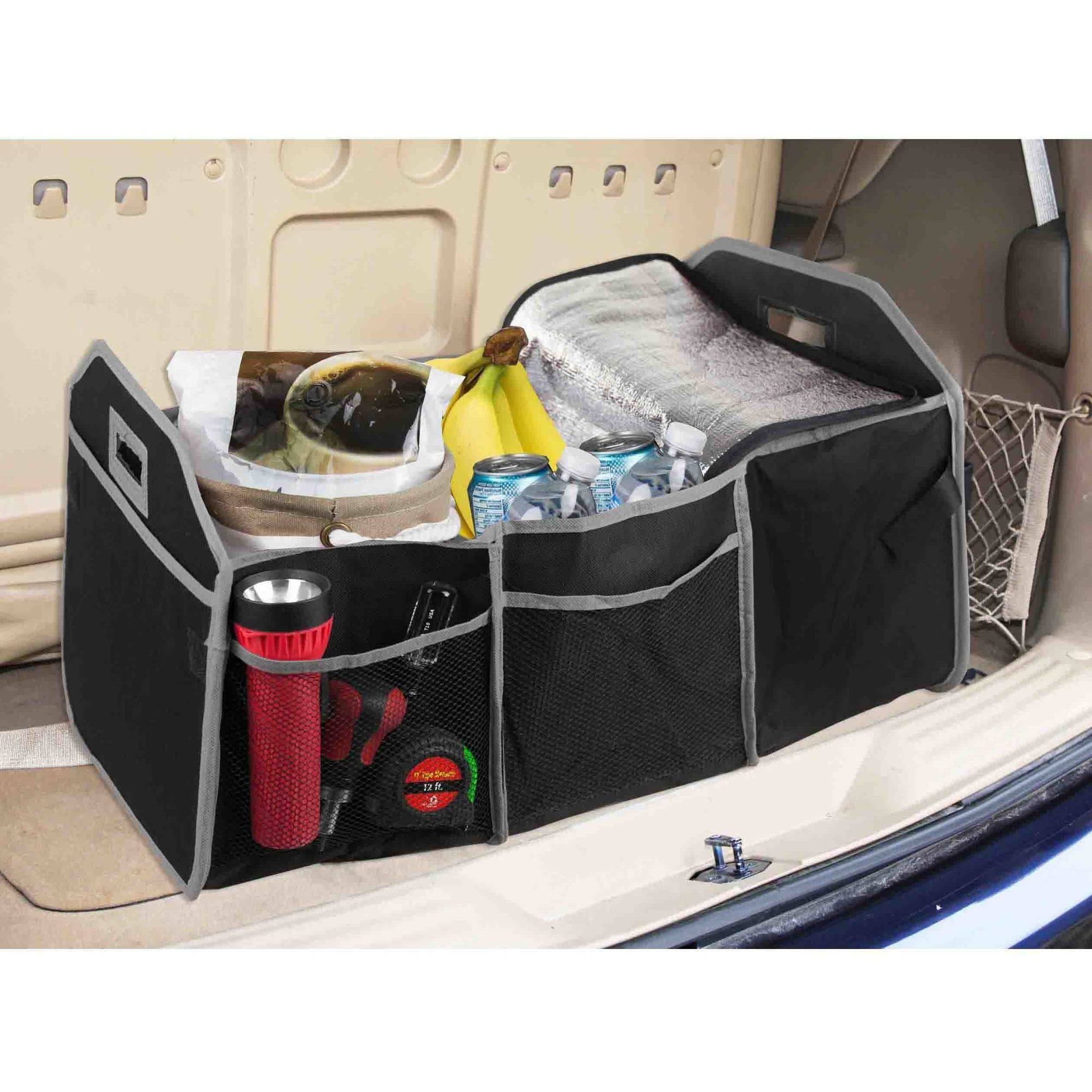 Home Basics Trunk Organizer with Cooler, Black and Grey
