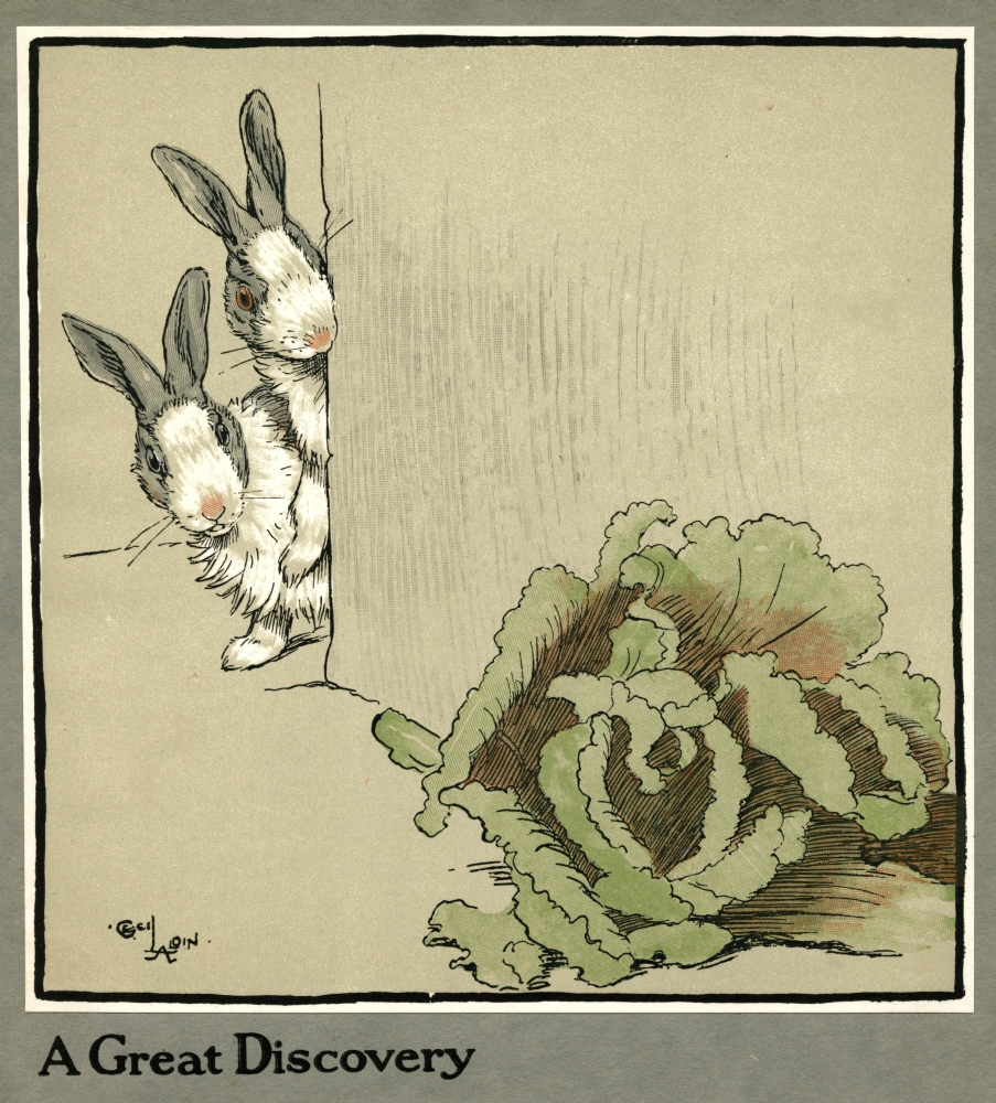 Mary Evans Picture Library Stretched Canvas Art - Humpty And Dumpty The Rabbits Find A Cabbage - Large 24 x 36 inch Wall Art Decor Size.
