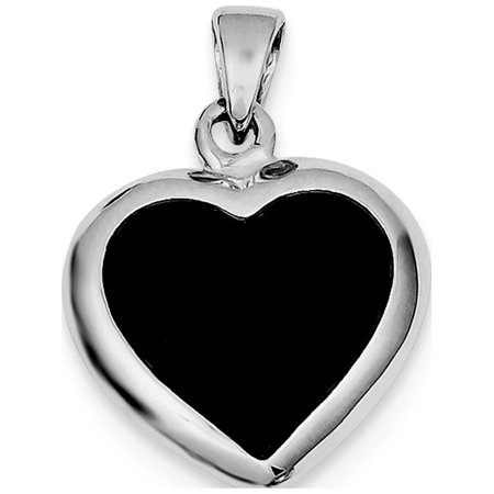 - Leslies Fine Jewelry Designer 925 Sterling Silver Onyx & Mother Of Pearl Reversible Heart (19x30mm) Pendant Gift