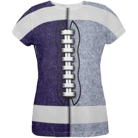Fantasy Football Team Navy and Light Blue All Over Womens T Shirt