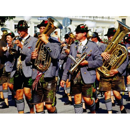 Male Marching Band in Traditional Costume During Oktoberfest, Munich, Germany Print Wall Art By Krzysztof