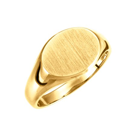 14K Yellow Gold 9x11 mm Solid Oval Signet Ring Size 6 for Womens Solid Oval Signet Ring