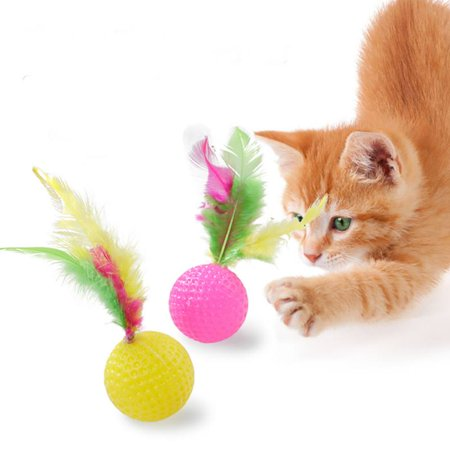 Pet Cat Dog Tumbler Feather Toys - Interactive Scratching Ball Toy, Color Random