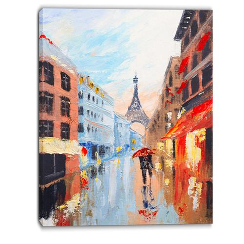DESIGN ART Designart Couple Walking in Paris Romance Canvas Art Print by Overstock