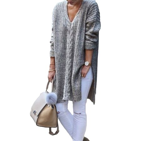 Womens Knitted Sweater Split Plain Long Sleeve Loose Kint Sweater Shirt Ladies Tops Pullover Winter Knitted Jumper Oversized